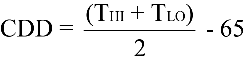 Cooling Degree Days Equation