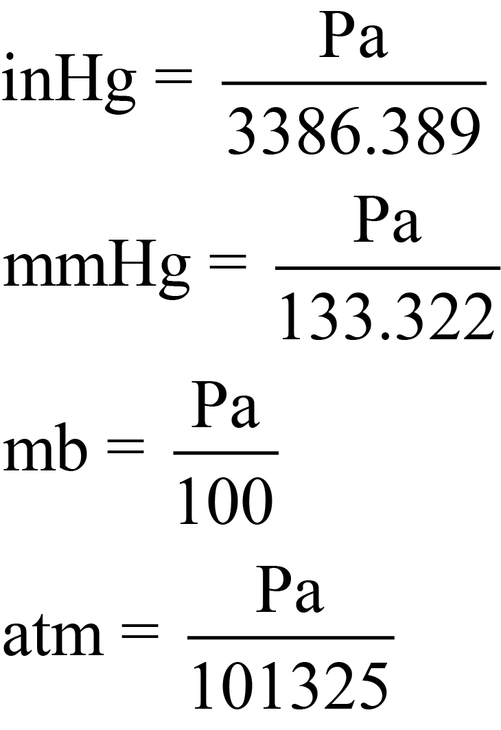 Equations to Convert from Pa