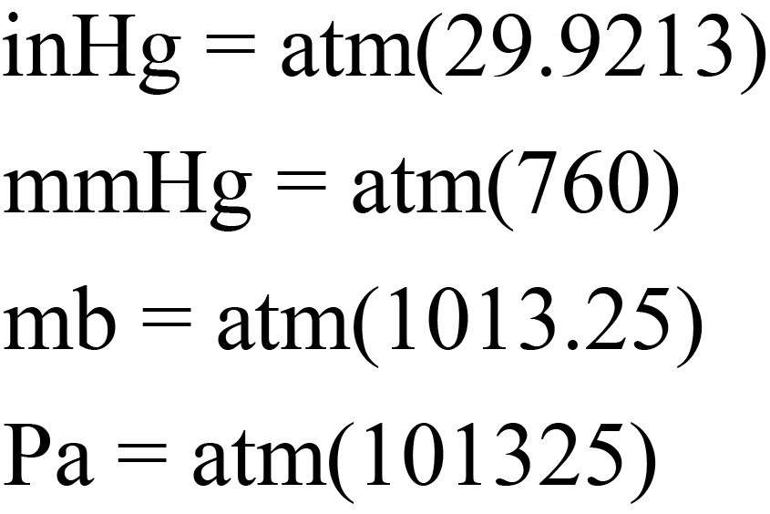Equations to Convert from atm
