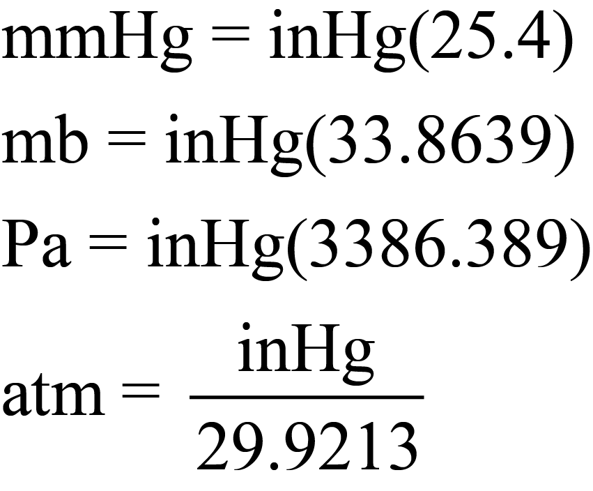 Equations to Convert from inHg