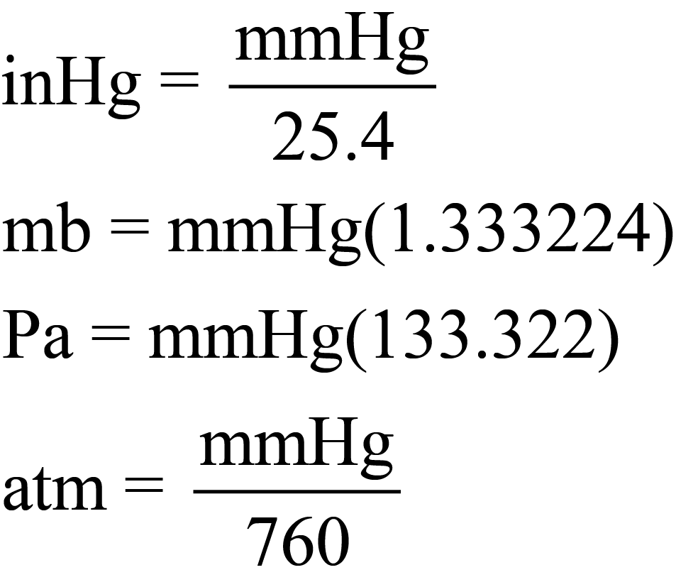 Equations to Convert from mmHg